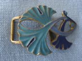 Art Nouveau Floral Buckle in True Blue and Turquoise  (SOLD)